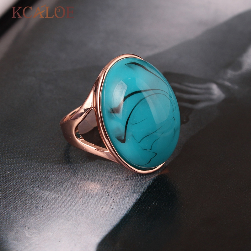 KCALOE Oval Natural Blue Resin Stone Ring For Women Fashion Rose