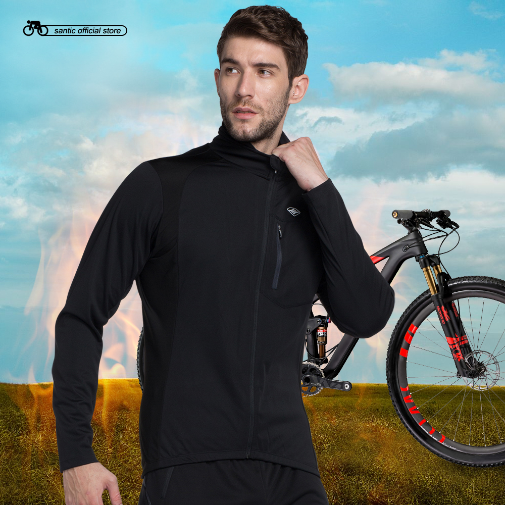 Santic Mens Cycling Jackets Keep Warm Cycling Windproof Jacket Coat Black Autumn Winter Cycling Clothings KC6104