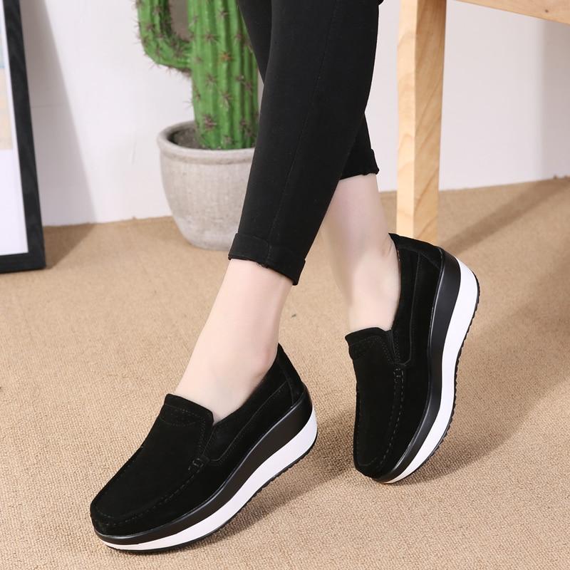 Black Plate Cuir Mocassins Hiver La Chaussures Blue Sneakers Véritable Dames green Taille Casual sky Plus Jzzddown forme lt Compensées navy red Femmes Des En TPxYdq
