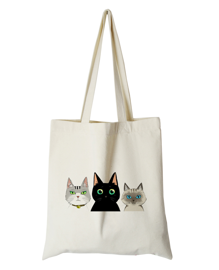 cute cat series canvas custom tote bag customized eco bags custom made shopping bags with logo  Dachshund Shepherd Dog Poodle (12)