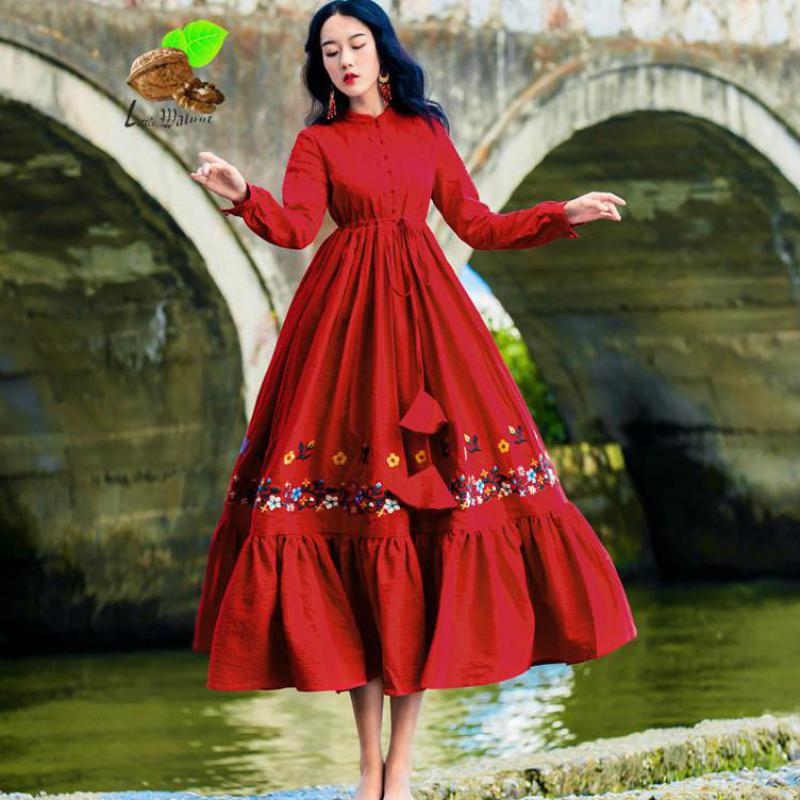 Новый Национальный Ветер Для женщин осень элегантный дизайн из хлопка и льна печати вышивка цветок Красный платья Женский листьев лотоса П...