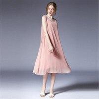High Quality XL 4XL Chiffon Pink Dress For women 2018 summer solid Sexy Tank Long Dress Casual Party Elegant Dresses Vestidos