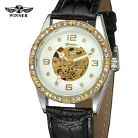 T WINNER Women S Latest Fashion Automatic Self Winding Skeleton Analog Leather Strap Brand Original Wrist