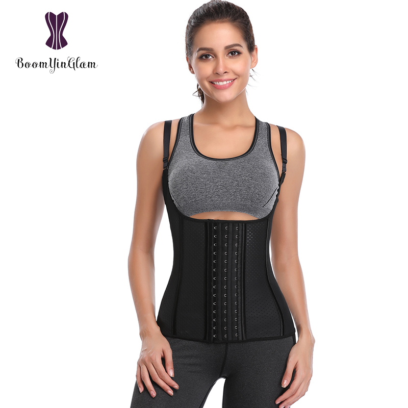 Latex Material Breathable Body Shaper 9 Steel Boned Waist Trainer Slimming Tummy Corset With Adjustable Straps 605#