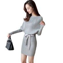 Лидер продаж 2017 осень-зима теплое вязаное платье миди Для женщин o-образным вырезом с длинным рукавом Вышивка Крестом Пакет хип Bodycon Платье Vestidos женский