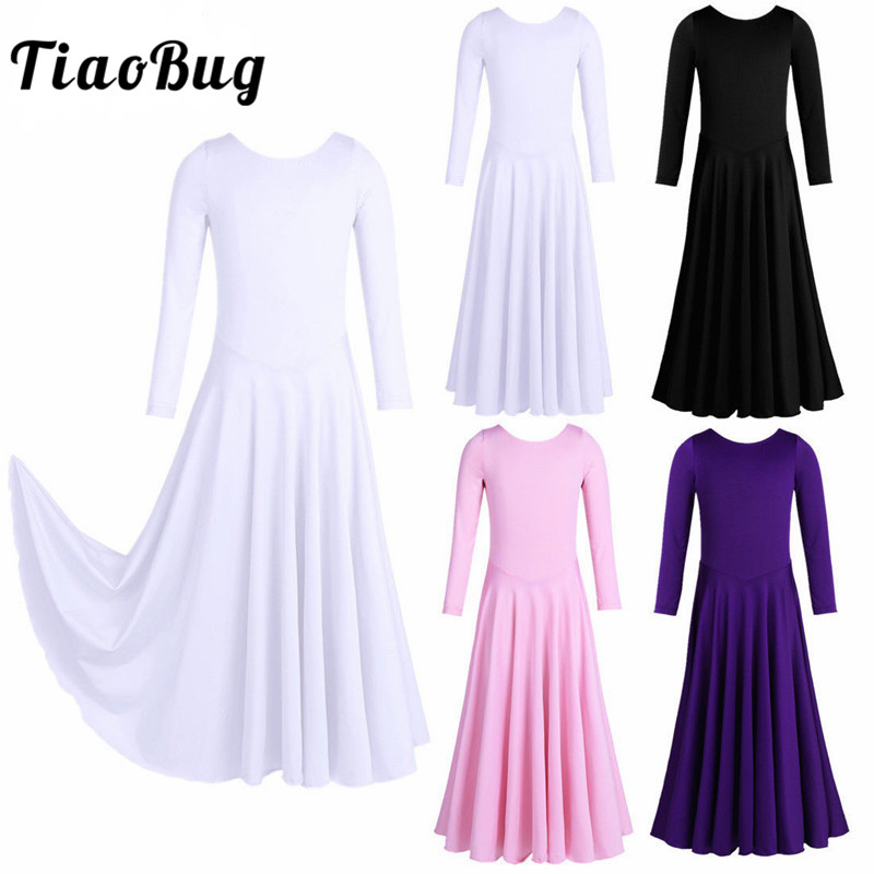 <font><b>TiaoBug</b></font> Girls Long Sleeve Loose Fit Ballet Tutu Dance Dress Lyrical Dance Costumes Ankle Length Dress Contemporary Dance Costume image
