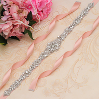 Yanstar Silver Crystal Belt Bride Belt Handmade Rhinestones Belt For Wedding Dress De Mariage 35WB935