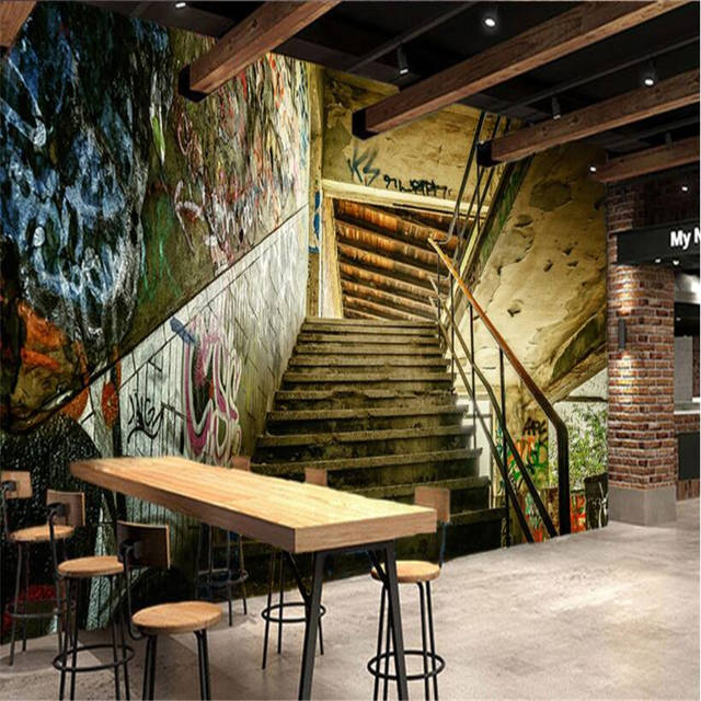 Us 8 85 41 Off Beibehang Custom Wallpaper Personality Stereo Street Stairs Graffiti Modern Hotel Backdrop Wall Mural 3d Wallpapers Home Decor In