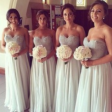 Silver 2017 Cheap Bridesmaid Dresses Under 50 A-line Sweetheart Floor Length Chiffon Lace Long Wedding Party Dresses