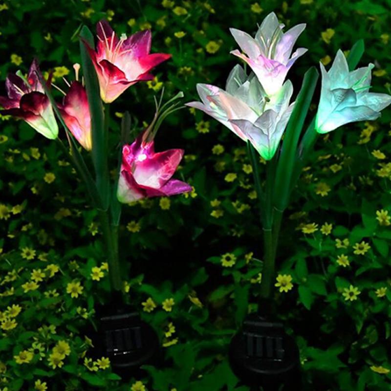 solar lampada colorida 16 pcs flores lirio 03