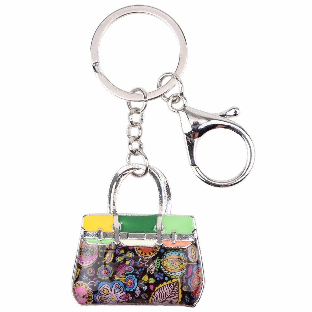 Bonsny emali seos kukallinen käsilaukku avainketju avainniput rengas - Muotikorut - Valokuva 5
