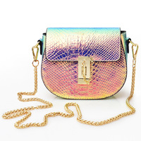3 pc Gradient Couleur Qualité PU Croc en cuir Messenger sac Chaîne En Métal Femme Crossover sac