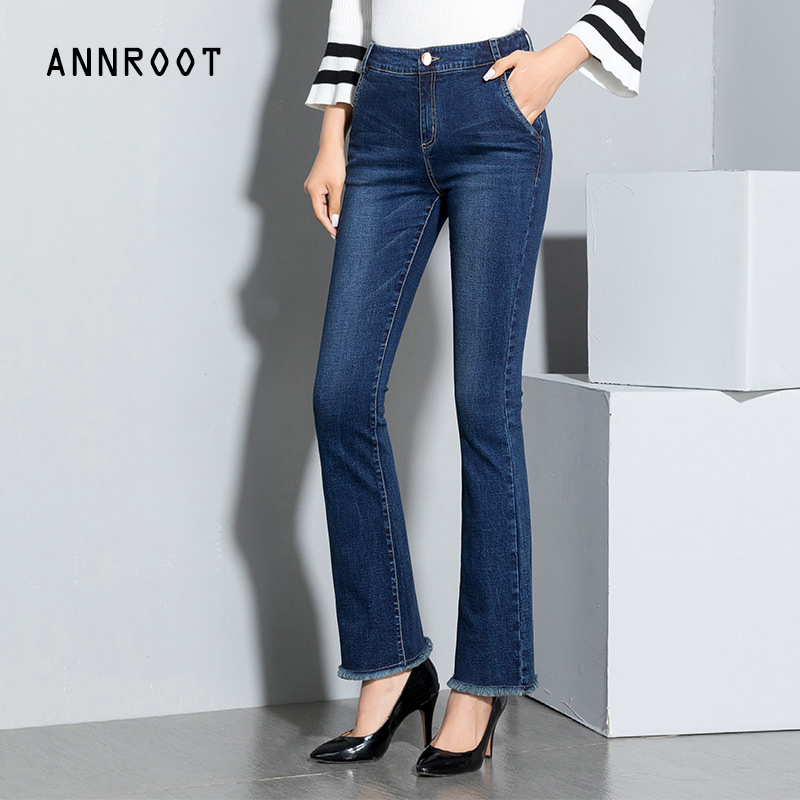 ANNROOT Free shipping 2017 New Slim Pants Vintage High Waist Jeans new women pants full length