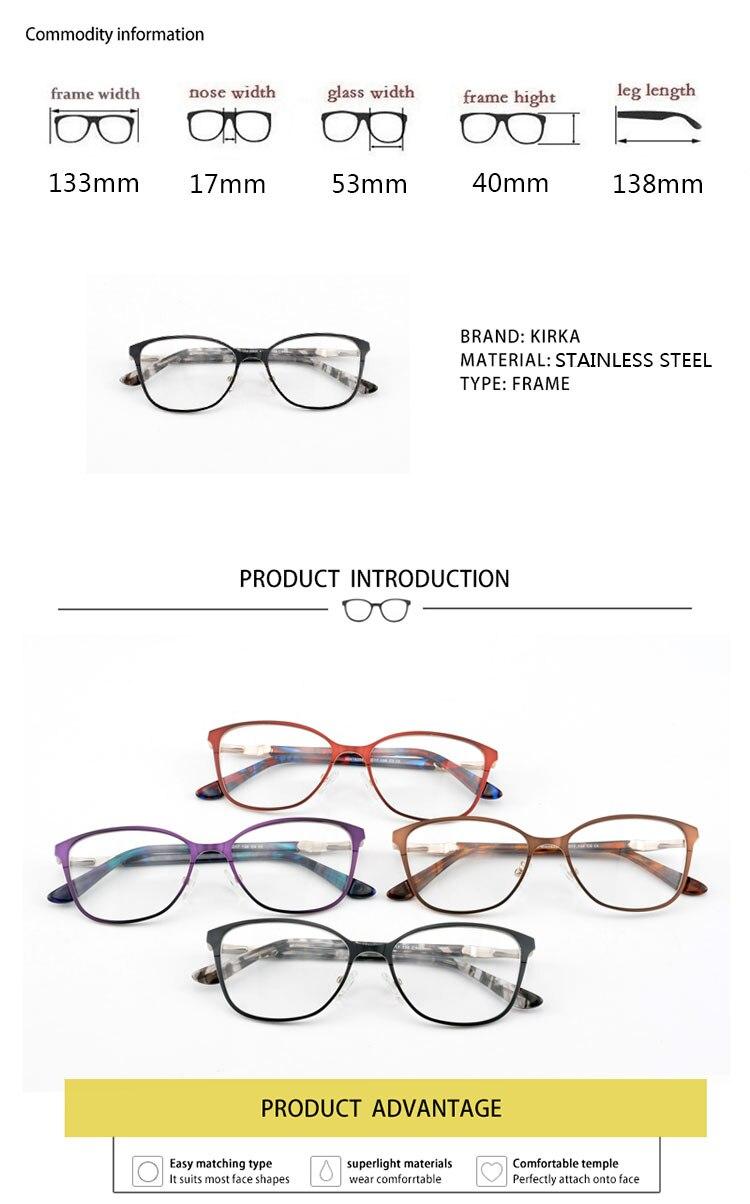 Kirka lentes marco Metal óptico Retro negro mujeres gafas marco moda ...