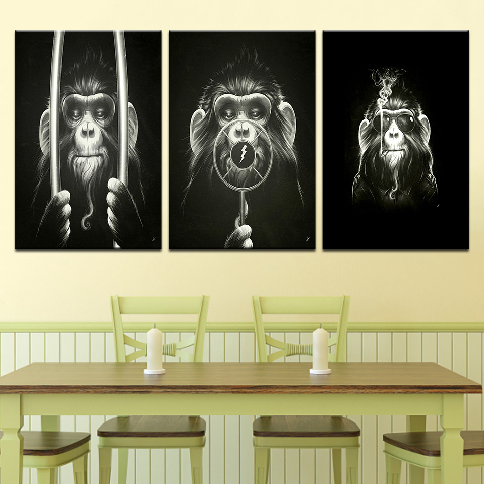 Decorative Pictures print Balck Abstract Painting Monkey Modern ...