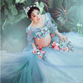 Light Blue Maternity Gown Lace Flower fairy Dress Studio Maternity Photography Props Pregnant Women Dresses Photo Shoot L1189