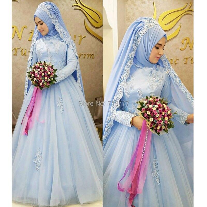 Blau Moslemisches Hochzeitskleid Formal Long Sleeve Islamischer ...