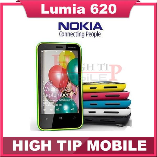 "Lumia 620 original abierto de nokia 620 teléfono windows mobile 3.8 ""dual-core rom 8 gb cámara de 5mp wifi gps reformado freeshipping"