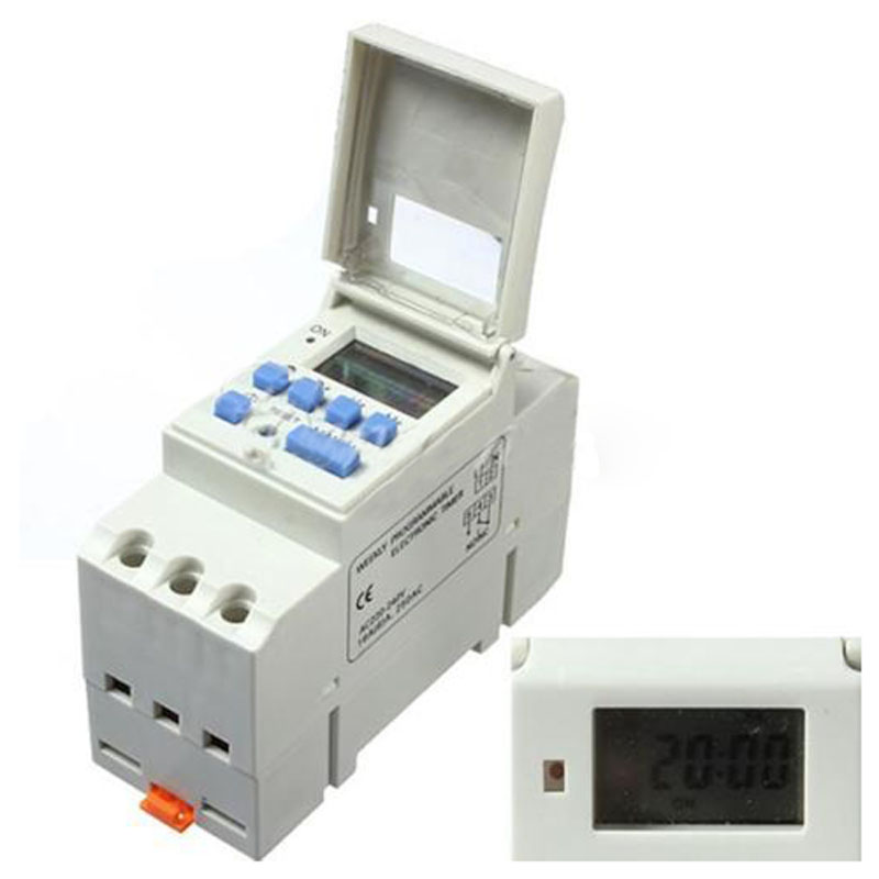 Promotion! DIN Rail Digital LCD Power Programmable Timer AC 220V 16A Time Relay Switch new digital lcd programmable timer 12v dc din rail time relay switch power drop ship