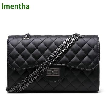 2017 black women shoulder bags party crossbody chain bag plaid handbag quilted sac a main femme women leather handbags