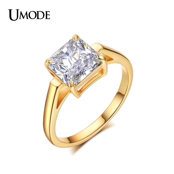 UMODE Yellow Gold Color 2 25ct Princess Cut Square Cubic Zirconia