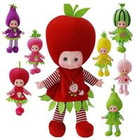 Vegetables fruit watermelon strawberry peach plush toy stuffed doll electrionc sing blink big head girl baby birthday gift 1pc