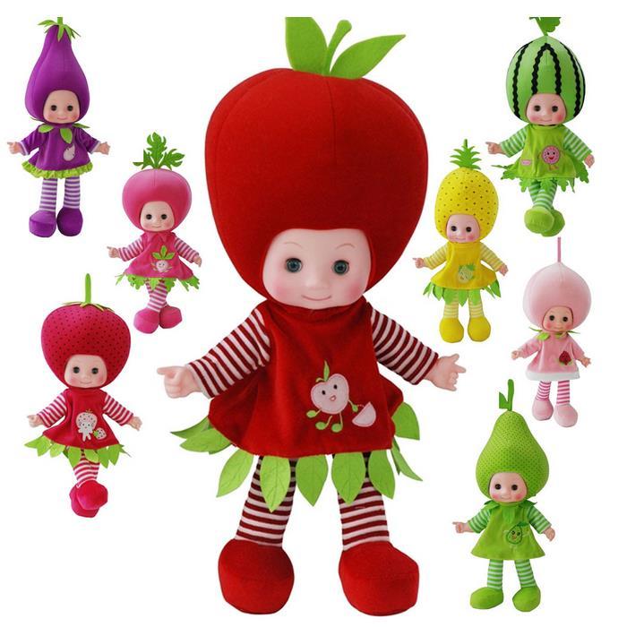 Vegetables fruit watermelon strawberry peach plush toy stuffed doll electrionc sing blink big head girl baby birthday gift 1pc