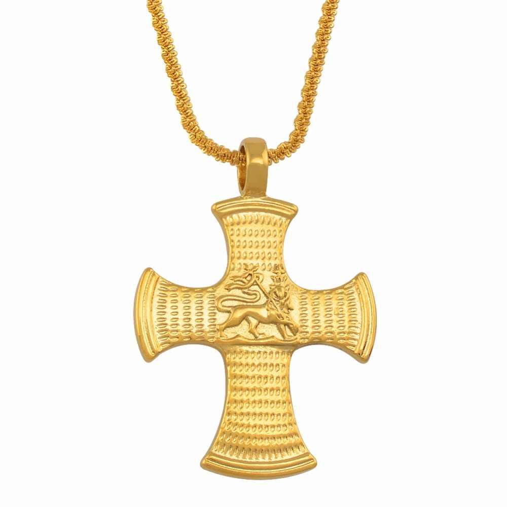 Annio etíope cruz de ouro com o leão de judá pingente colares para mulheres cor de ouro africano jóias eritreia #012916