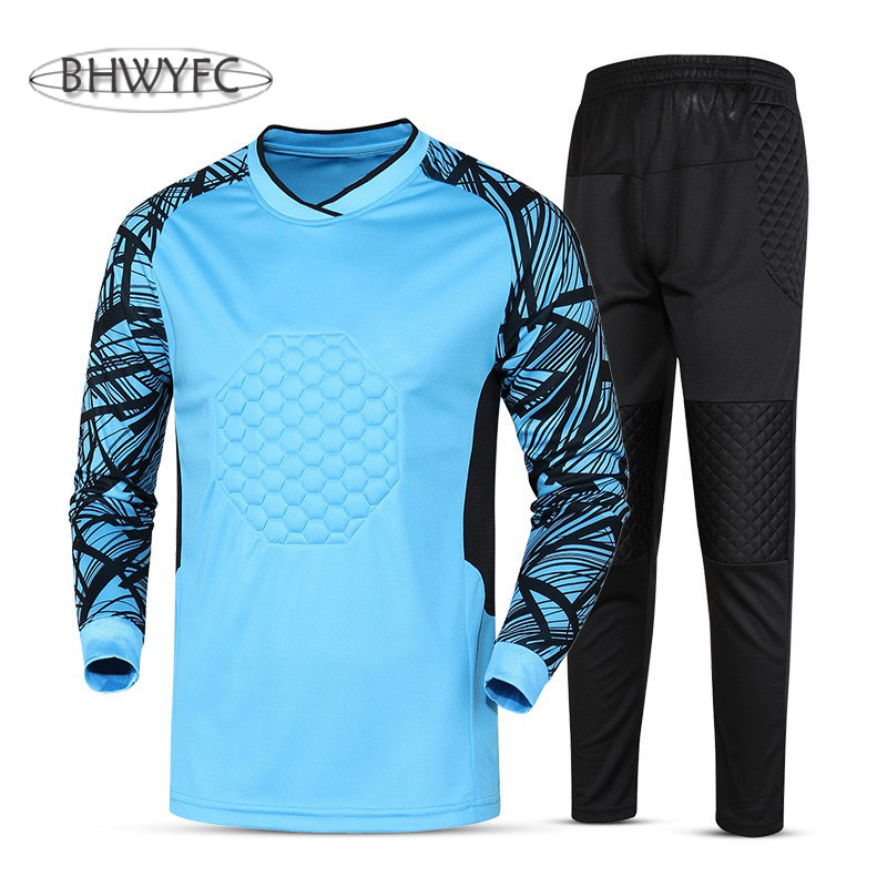 BHWYFC 2017 Men Goalkeeper Jersey Soccer Sponge Protector Doorkeeper  Camisetas De Futbol Men Goalkeeper Shirts Uniforms Custom 7159f9f68