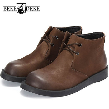 Retro Punk Style Winter New Fashion Warm Shoes Mens Genuine Leather Cow Round Toe Lace Up Ankle Boots Male Boots Flat Fur Lining