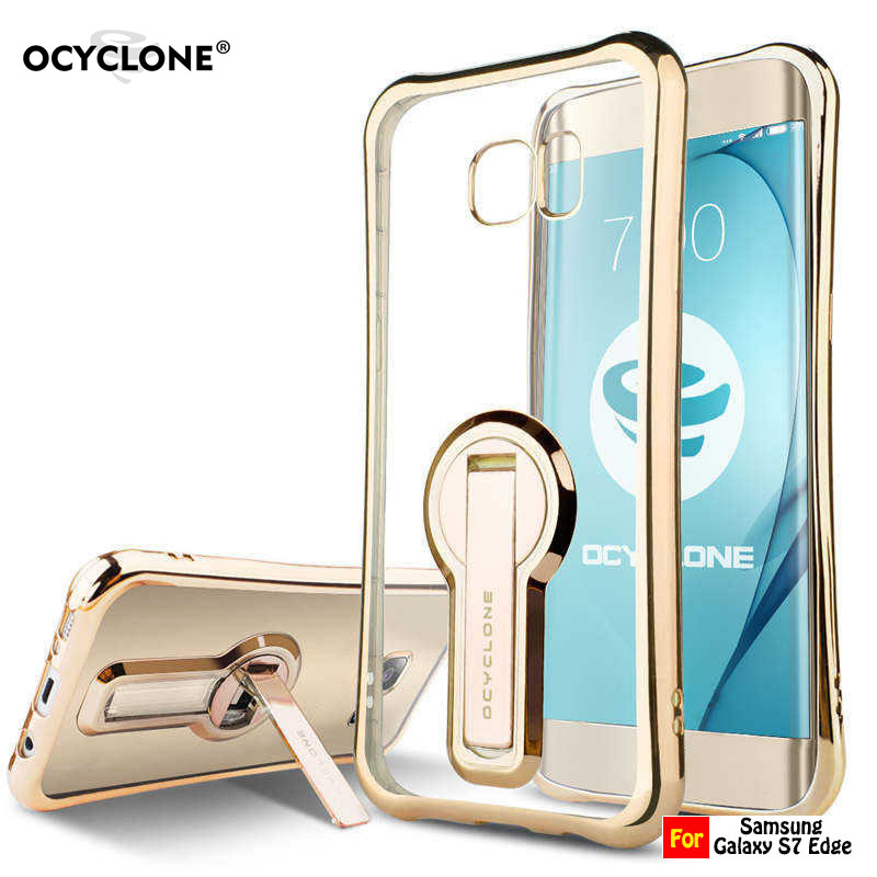 For Samsung Galaxy S7 Case Galaxy S7 Edge case Transparent flip kickstand case Metal frame Anti-konck Solf Men Business Case