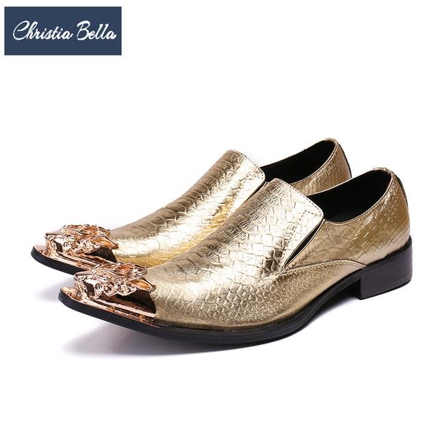 Christia Bella Luxury Men Formal Wedding Shoes Gold Genuine Leather Men  Dress Shoes Fashion Business Banquet Shoes Plus Size 6139683b3fcd