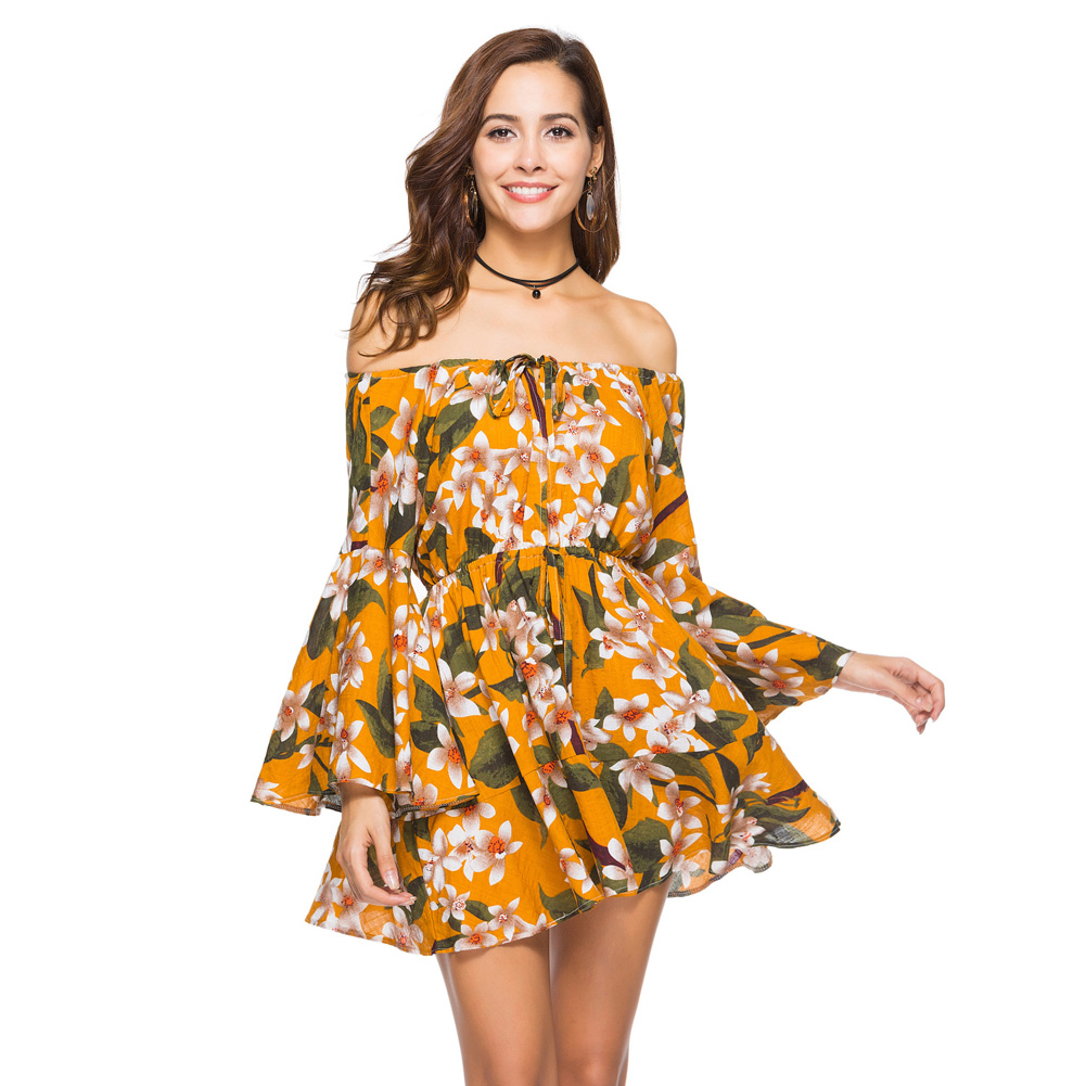 Lace Up Floral Print Short Dress Women Long Sleeve Off