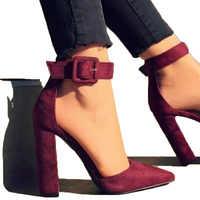 Mode Damen High Heels Weibliche Zapatos Mujer Spitz Pumpen Frauen Schuhe Frau Partei Knöchel Strap Pumpe Sommer Sandalen 789