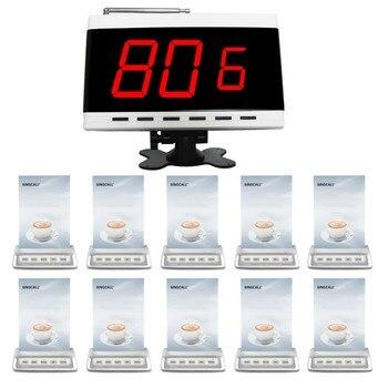 Singcall sistema de llamada 1 receptor y 10 llamando campanas para el restaurante, cafetería, KTV
