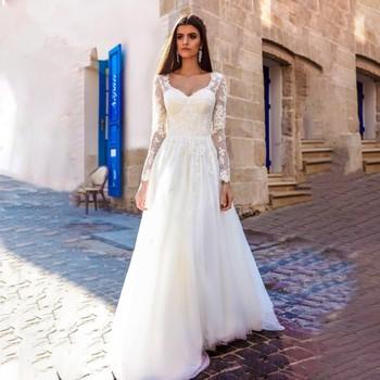 Eightale Vintage Wedding Dresses Square Collar Appliques Long Sleeve Lace Wedding Gown Turkey Bride Dress robe vintage mariage