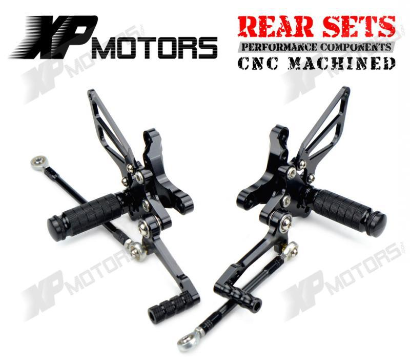 Black CNC Adjustable Foot Pegs Billet Racing Rearset Kits Rear Sets For Ducati 1098 R 20 ...