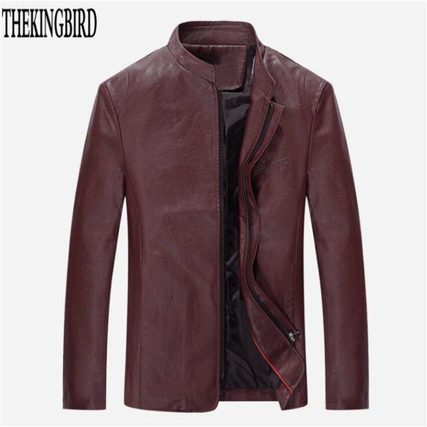 Hombres chaqueta de cuero con cremallera Negro Primavera / otoño - Ropa de hombre - foto 6