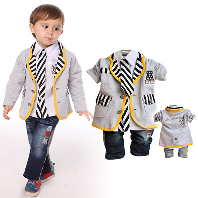 ФОТО Anlencool Real Roupas Infantil Meninas  Boys Clothes Set Infants Valley Suit Jacket Autumn Baby Clothing