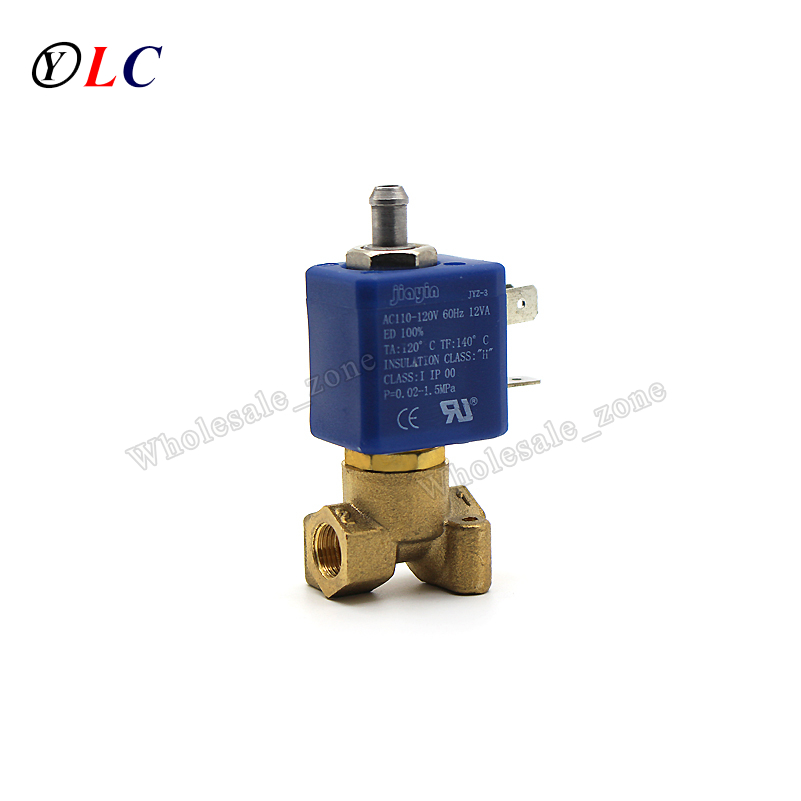 2 position 3 way  JYZ-3 AC 110 to 120V brass G1/8 high temperature electric water solenoid valve for coffe machine2 position 3 way  JYZ-3 AC 110 to 120V brass G1/8 high temperature electric water solenoid valve for coffe machine