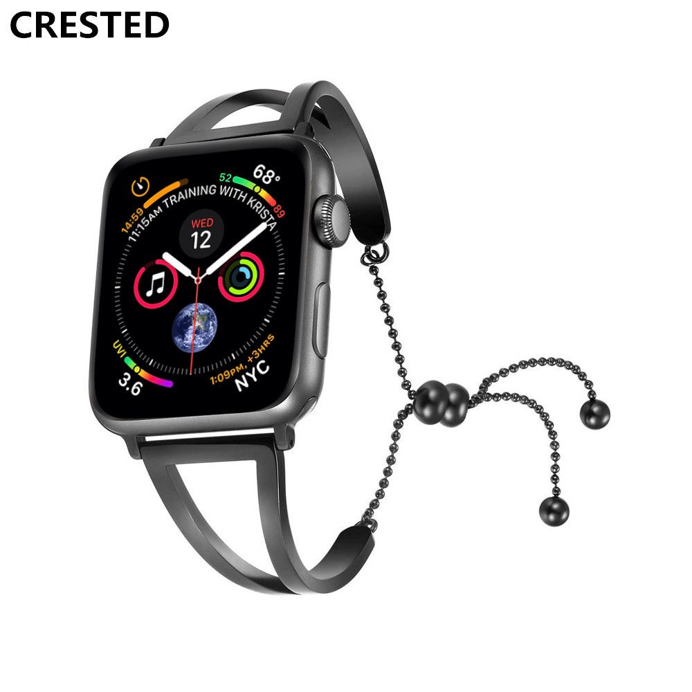 CRESTED strap For Apple Watch 4 Band 44mm/40mm Band corres 316L Stainless Steel iwatch 4 pendant wrist Bracelet watchband belt neway 12mm ceramic c 316l stainless steel watchband convex interface women watch strap small wristwatches band belt bracele