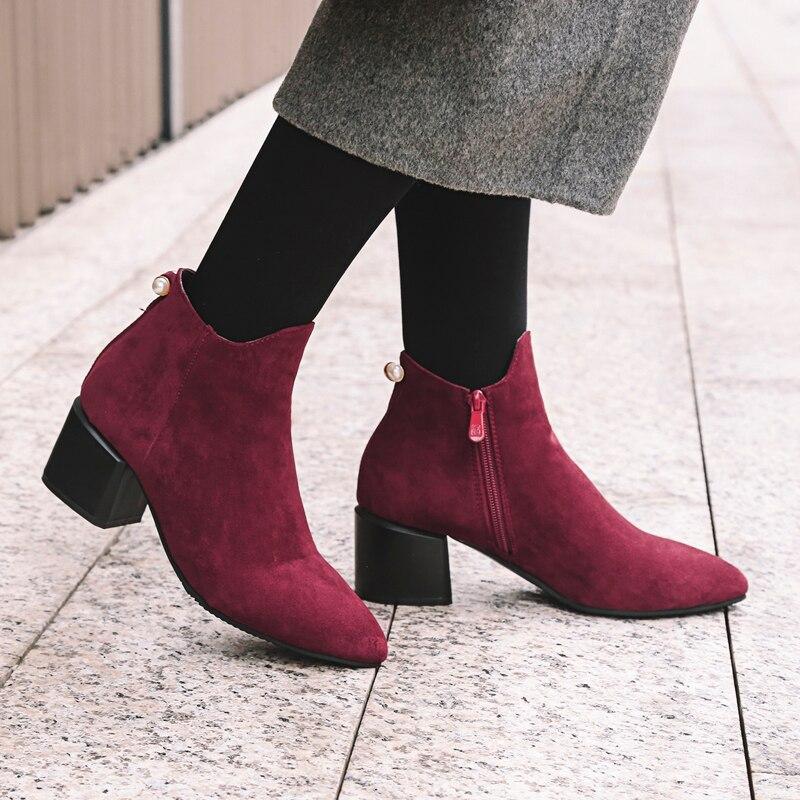 Zapatos Invierno Alto Cómodos Rebaño Tobillo Otoño Mujer Black Mujeres gray Red Tacón Elegante wine Botas Las De Moda fq8O4c