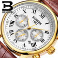 Аутентичные швейцарские фирменные мужские автоматические механические часы с сапфировым золотом водонепроницаемые часы с кожаным ремешк...