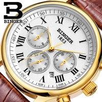 Authentische Schweiz BINGER Marke Männer automatische mechanische selbst wind sapphire gold uhr wasserdicht lederband tabelle