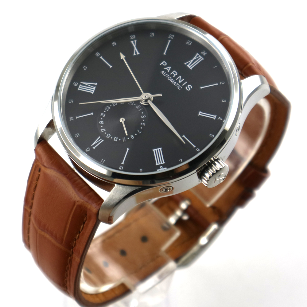 42mm Parnis black dial 24 Hours ST 1690 Automatic Movement Mens Watch