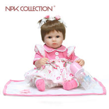 New design 40cm Realistic doll  soft silicone  reborn  baby doll with wig  playing toys for kids Christmas sweet baby