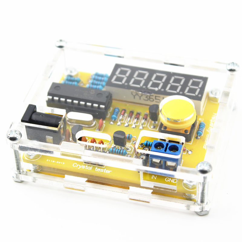 New Arrive LED DIY Kits 1Hz-50MHz Crystal Oscillator Tester Frequency Counter Tester Meter Shell Parts Tester