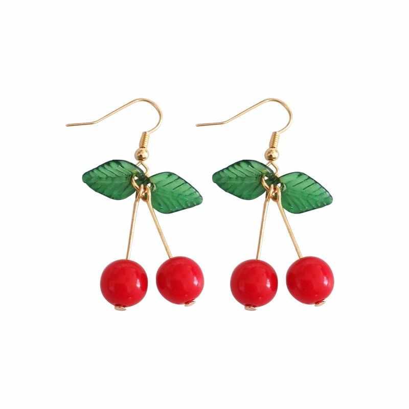 ร้อนสีแดงเชอร์รี่ต่างหู eardrop หวานผลไม้สดเชอร์รี่ eardrop หญิงแฟชั่นเยาวชนที่สวยงามสาวนักเรียนต่างหูผู้หญิง