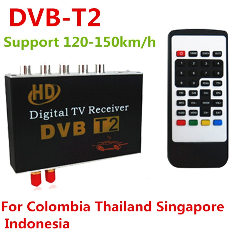 DVB-T2 H.264 MPEG-4 MPEG-2 Car Digital TV Receiver Box For Thailand Singapore Malaysia Colombia Support 120-150km/h Speed 2016 hd h 264 mpeg 4 real video car digital tv receiver box with dual antenna support high speed over 160km hour