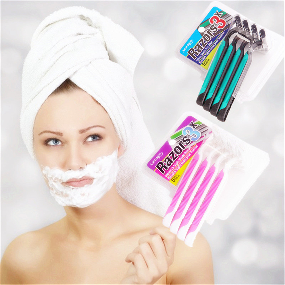 High Quality Women Razor, Three Layers  Blades Beauty Shaving Razor With Fashion Design, Shaver For Women Hair Removal 4pcs